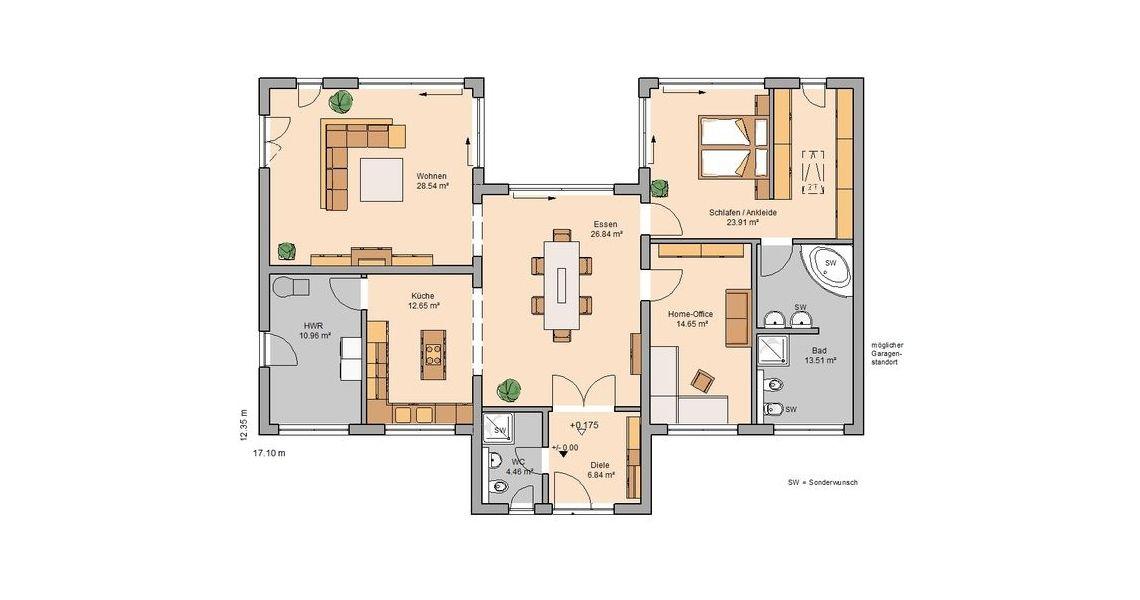 Berger Massivhaus massivhaus kern haus bungalow fokus grundriss erdgeschoss