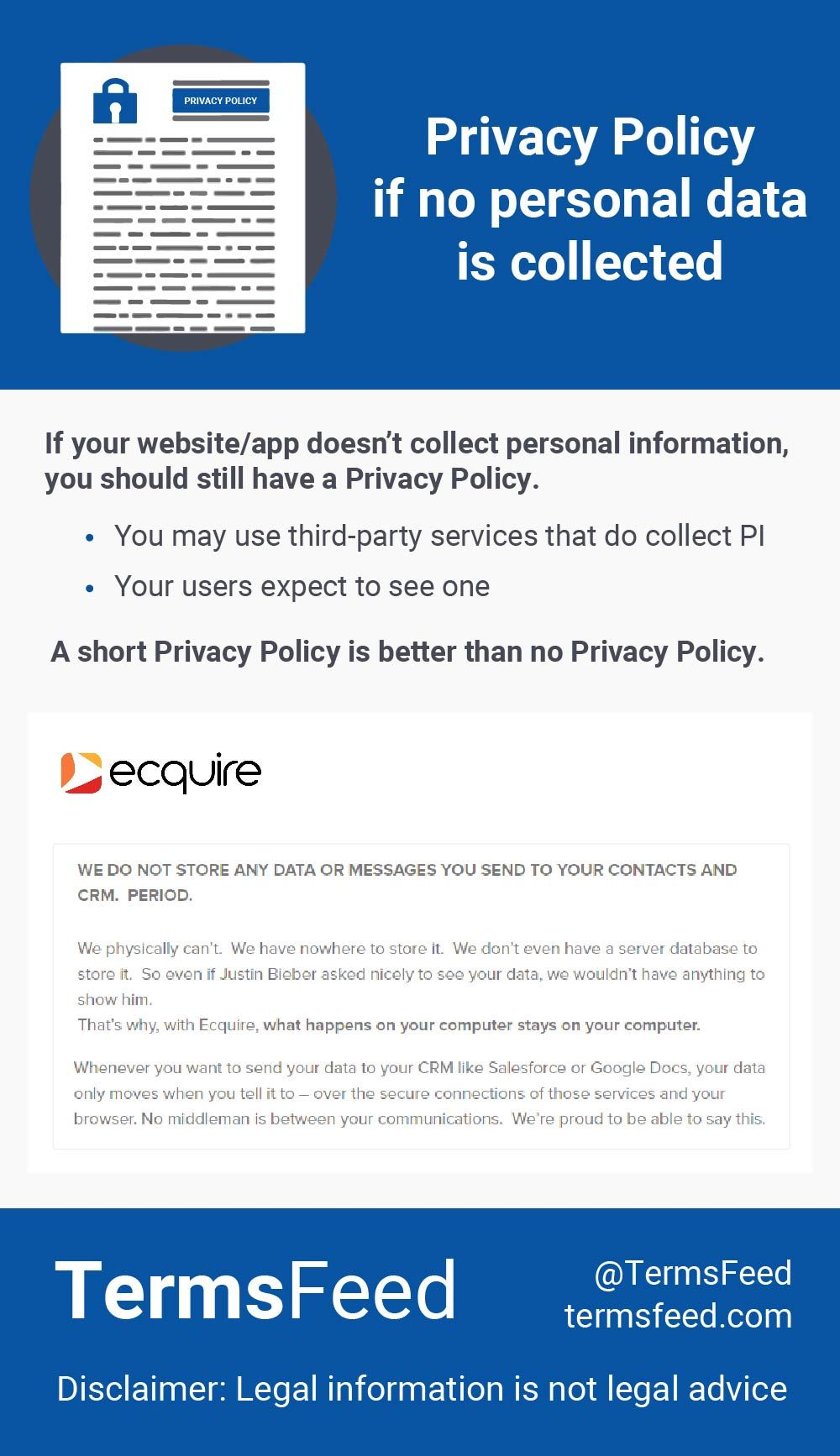 Privacy Policy If No Personal Data Is Collected Termsfeed Privacy Policy Policies Data