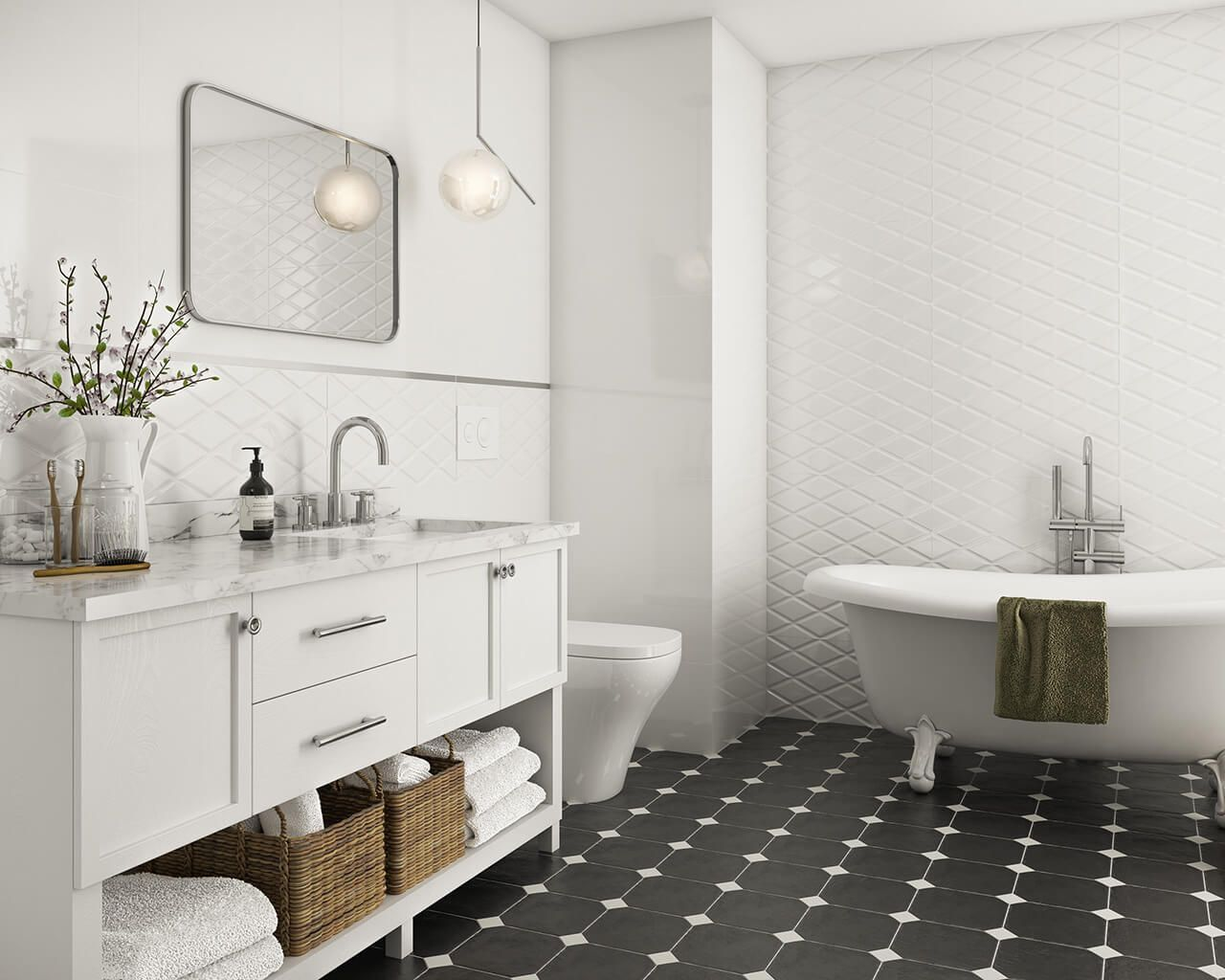 Moonlight Ceramika Paradyz Monochrome Bathroom Classic Bathroom Elegant Bathroom