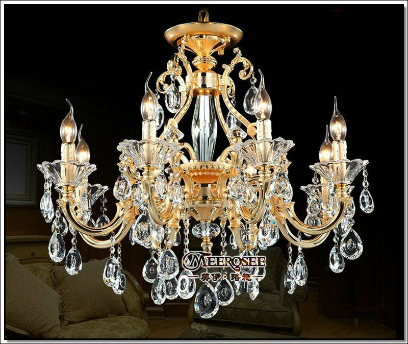 Hot selling high quality golden crystal chandelier light fixture crystal pendant lamp fitting in stock free