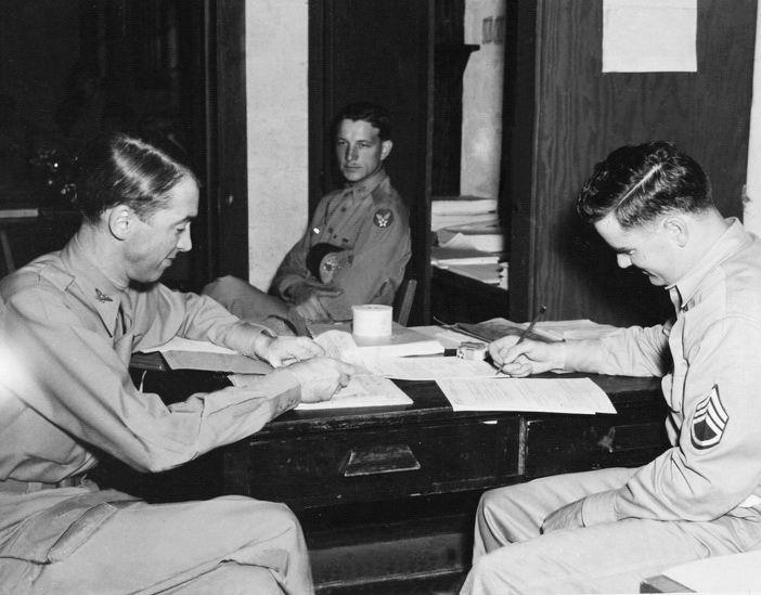 Colonel James Stewart receiving discharge. September, 28, 1945.