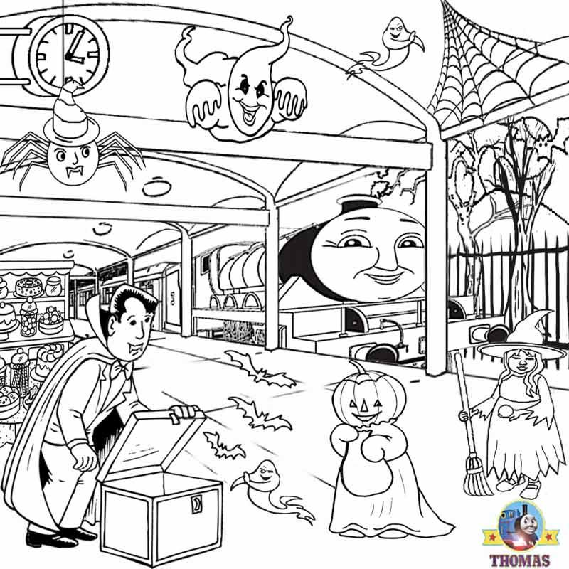 Free Kids Activities Halloween Coloring Pages To Print Haunted Henry Ghost Train