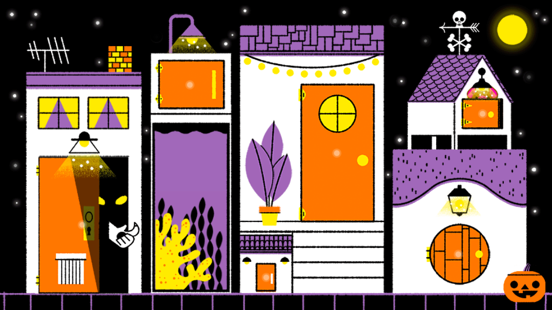 This year's Google Doodle celebrates Halloween with an