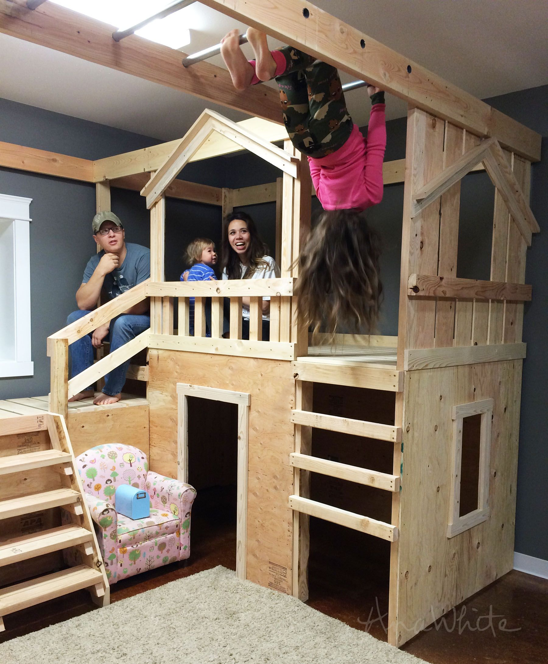 Diy loft bed with slide plans  Ana White  Build a DIY Basement Indoor Playground with Monkey Bars