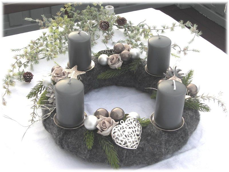 adventskranz filz kranz grau silber von tinas art of. Black Bedroom Furniture Sets. Home Design Ideas