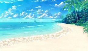 Anime Tropical Beach Scenery Wallpaper 2048x1152 Id 53437 Com