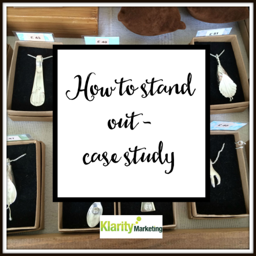 How to stand out - case study - On my way round the show, I was drawn to a lovely stand with beautiful silver jewellery. Now, all fairs have a company selling jewellery right? And it tends to be much of the same, but this lovely business was different.......