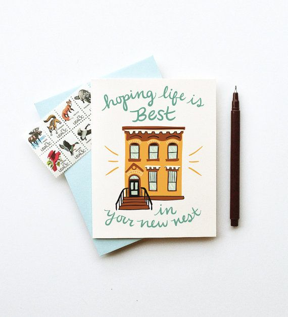 Your New Nest City Home Card Calligraphy Handwriting Gold Brown Red Brownstone Flat Apartment Urban Condo Congrats Well Wishes House