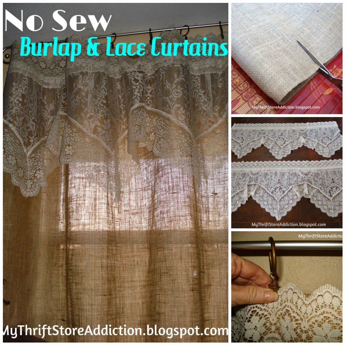 Refresh Your Home No Sew Burlap And Lace Curtains Lace Curtains Diy Curtains Curtains And Draperies