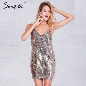 cea7e798dd53 Simplee Backless profondo scollo a v paillettes vestito sexy Delle Donne  del partito nero di lusso vestito