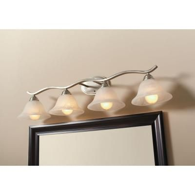 Hampton Bay Andenne 4 Light Brushed Nickel Bath Vanity Light With