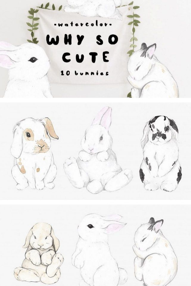 10 watercolor Easter bunnies for cards and easter Easter peojects #easter #graphics #easterideas #crafts #artsyinspired