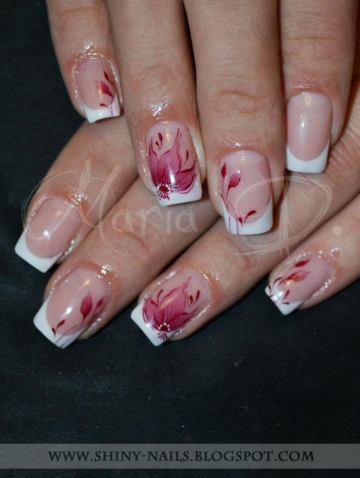 Shiny Nails By Maria D Classic Bordeaux Aquarelle Rojas Uñas