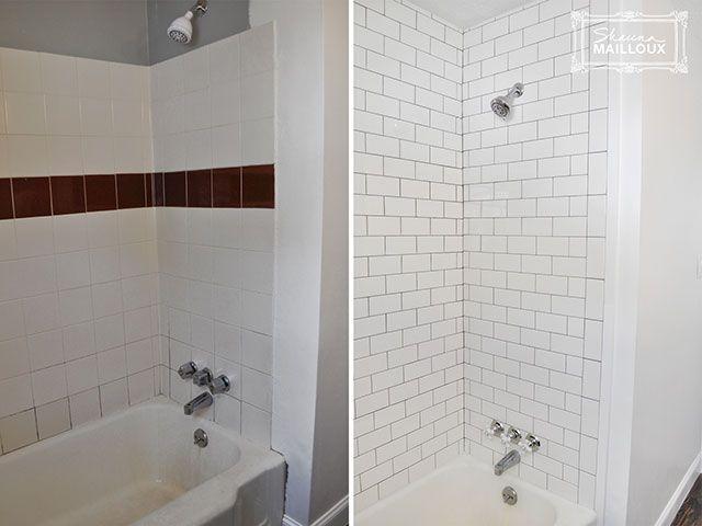Subway Tiled Tub Surround Retiling Tub Shower Loo