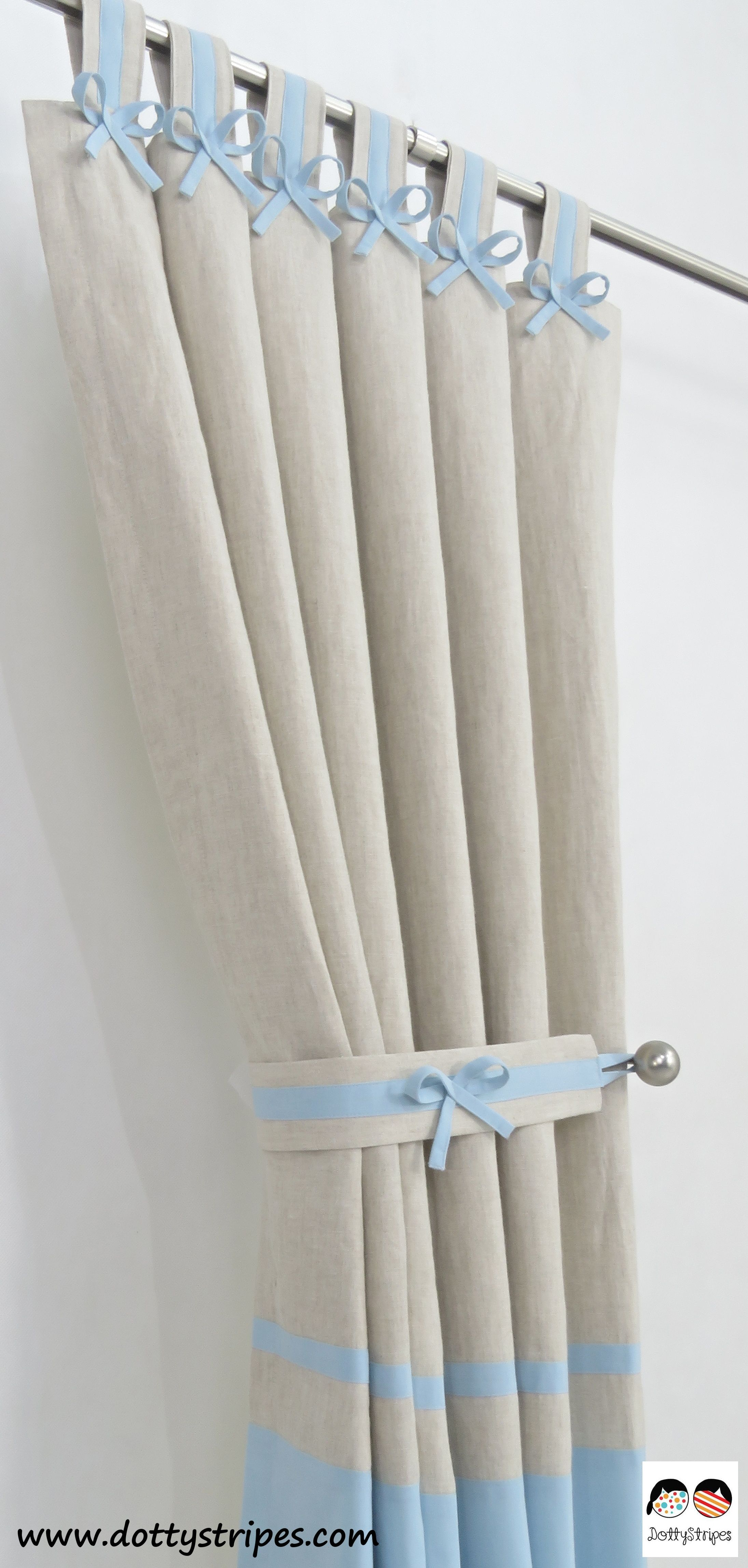 Boys Nursery Curtains Baby Blue And Natural Oatmeal Linen Handmade With Beautiful Bows Custom Sizes Available Highest Quality Guaranteed