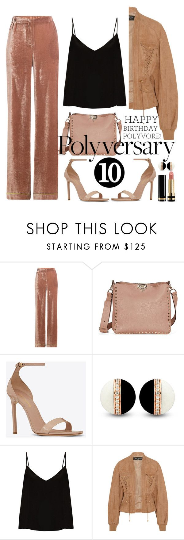 """""""Celebrate Our 10th Polyversary!"""" by licethfashion ❤ liked on Polyvore featuring Alberta Ferretti, Yves Saint Laurent, Raey, Balmain, Gucci, polyversary and contestentry"""
