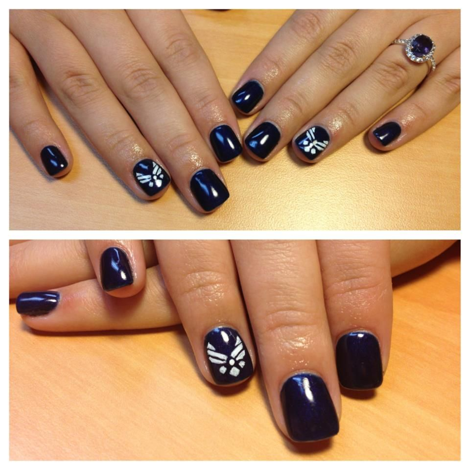 Air Force. I want my nails done like this for Hunter's