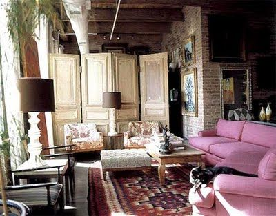 architectural salvage - doors repurposed into a screen, room divider - modern kleine wohnzimmer gestalten
