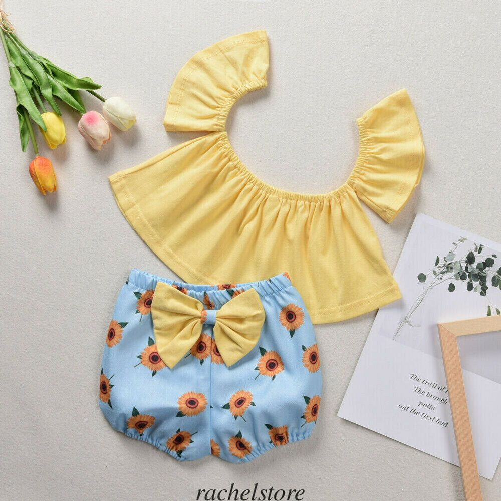 2PCS Baby Girl Sunflower Tutu Dress Tops+Shorts Pants Summer Outfits Clothes