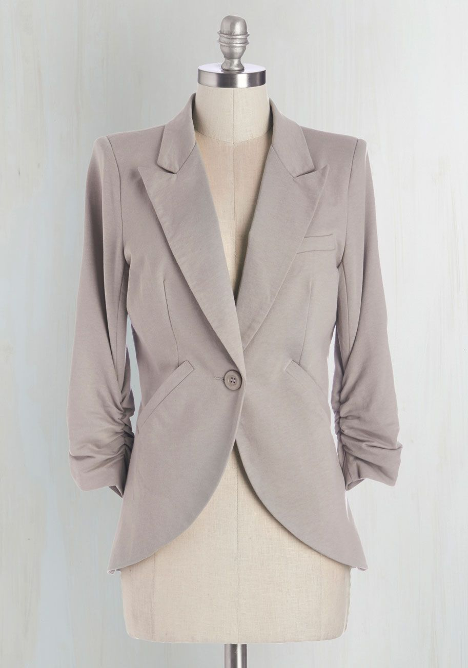 e8c064760da8 Fine and Sandy Blazer in Pebble. No need to roll up your sleeves before the  big meeting - this one-button blazer boasts ruched 3/4-length sleeves for a  look ...