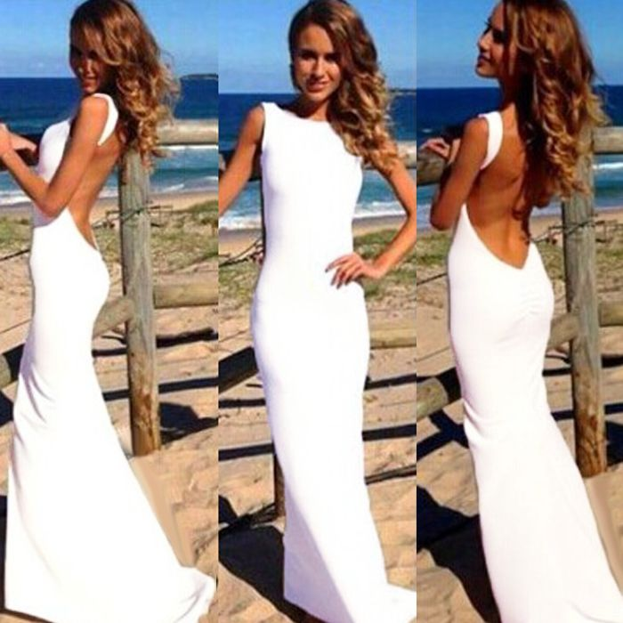 Sexy Women Backless Prom Ball Cocktail Party Long Dress Formal
