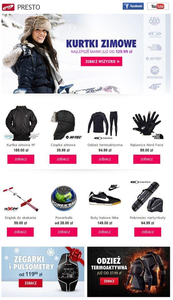 Kurtki Zimowe Kurtki Zima Presto Sport Narty Shopping Trekking Backpacking