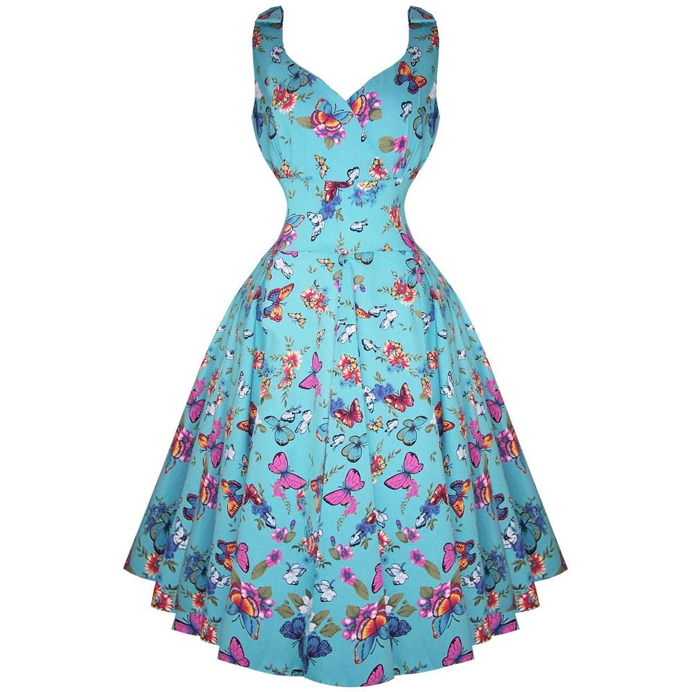 Whispering Ivy Blue Butterfly Floral 50s Vintage Tea Party Dress ...