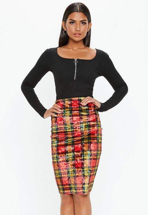 a7594a8d79a15b Red Velvet Plaid Midi Skirt | Fashion Flair Jewelry and Apparel ...
