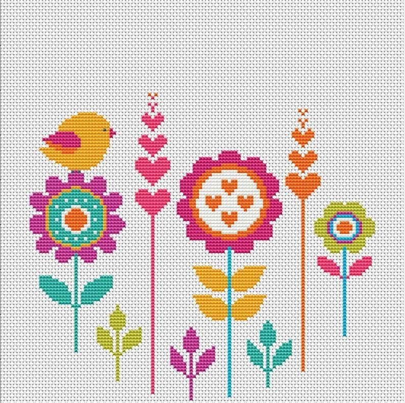 Photo of Cross stitch flowers pattern Hoop art cross stitch Bird on flower xstitch chart Modern Сross Stitch pdf pattern download Wall art decor