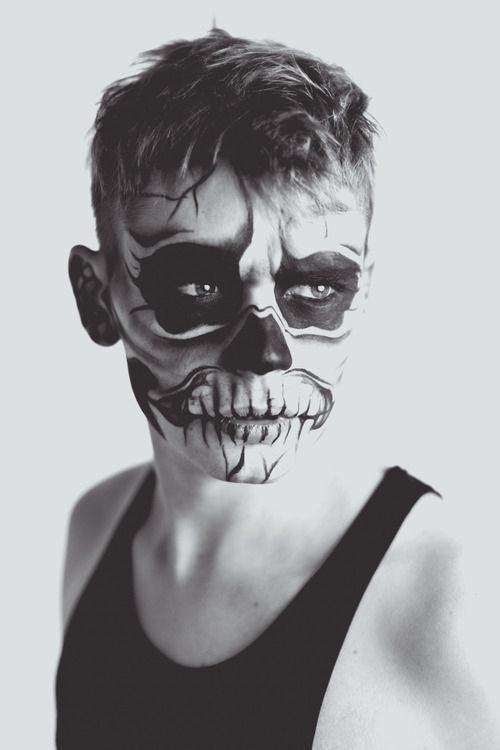 Skull makeup black and white makeup skull halloween adult costume ...