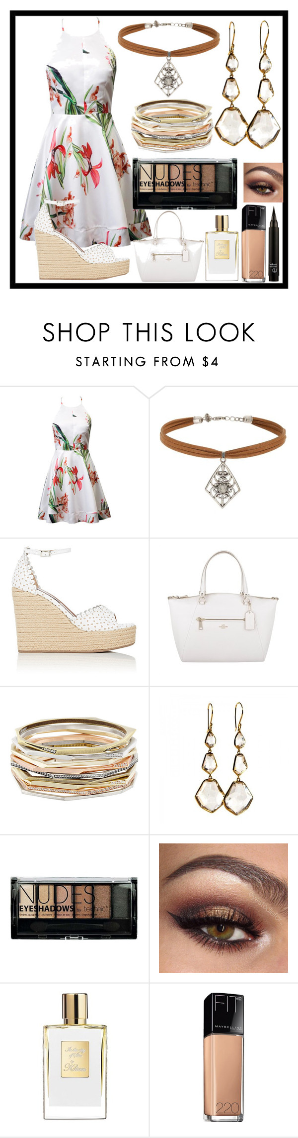 """Stay beautiful"" by malrocks2003 ❤ liked on Polyvore featuring Miss Selfridge, Tabitha Simmons, Coach, Kendra Scott, Ippolita, Boohoo and Maybelline"