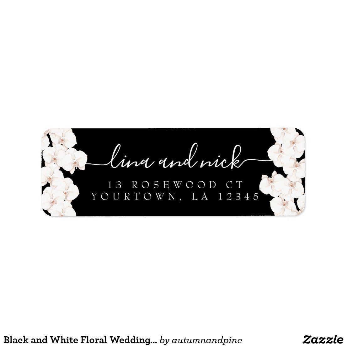 Black And White Floral Wedding Return Address Label Zazzle Com Return Address Wedding Return Address Labels Address Labels Wedding return address label template