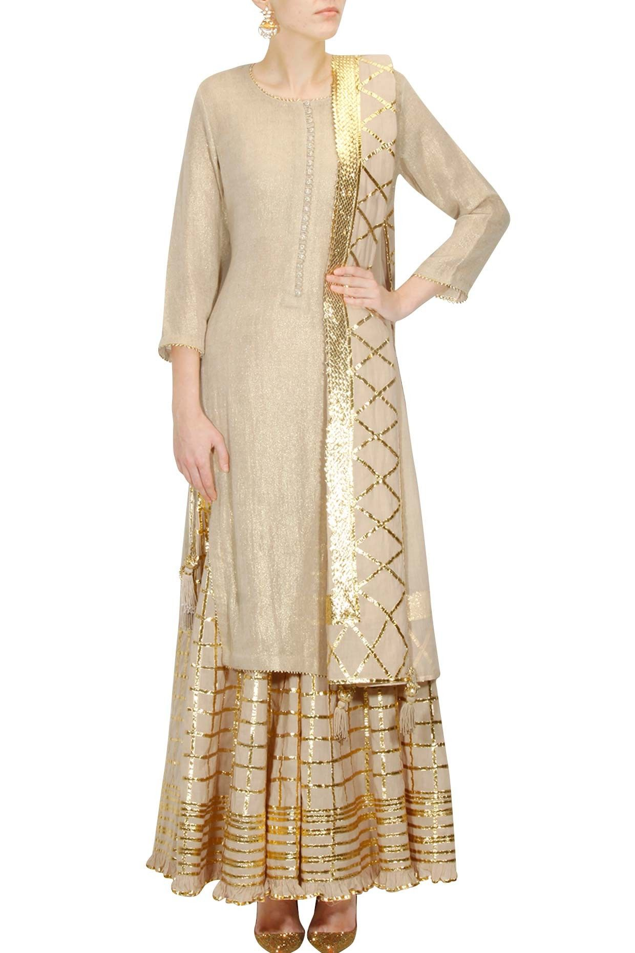 9465836e53 Bright yellow and gold gota patti work kurta and checkered sharara set  available only at Pernia's Pop Up Shop.