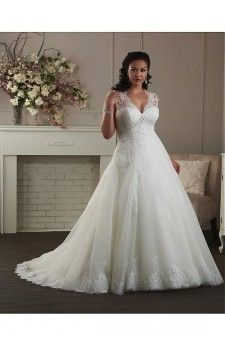 Graceful Tulle & Satin V-neck Empire Waistline A-line Plus Size Wedding Dress