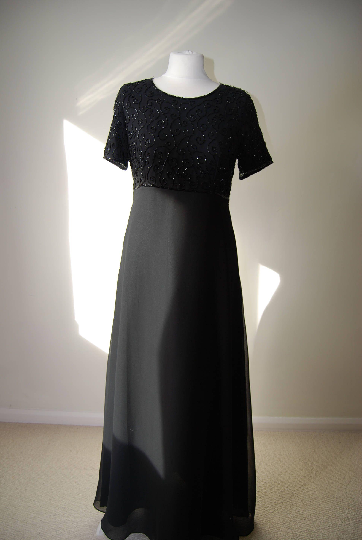 1960s black chiffon Empire line beaded evening dress by