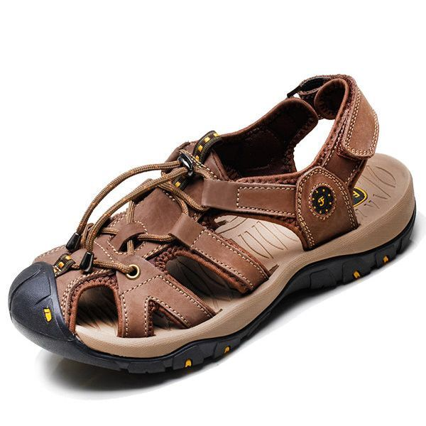 8ab1843dc4a6 Men Leather Hollow Out Toe Protecting Elastic Outdoor Beach Sandals ...