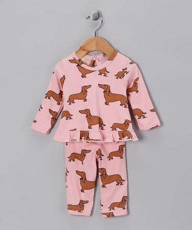 Take a look at this Pink Haute Dogs Organic Key Hole Top & Pants - Infant by Country Baby on #zulily today!