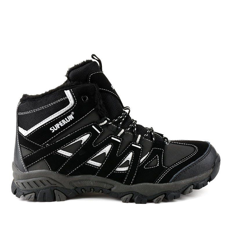 Black Solid 6282 Men S Hiking Boots Grey Hiking Boots Black Boots Men Boots