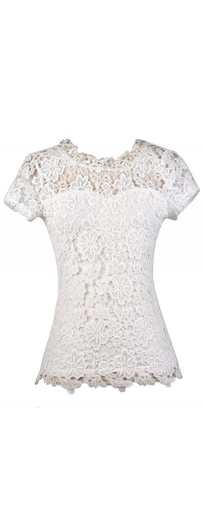 c15c4df9a33fb Lily Boutique Pearl Glam Embellished Crochet Lace Top in Ivory
