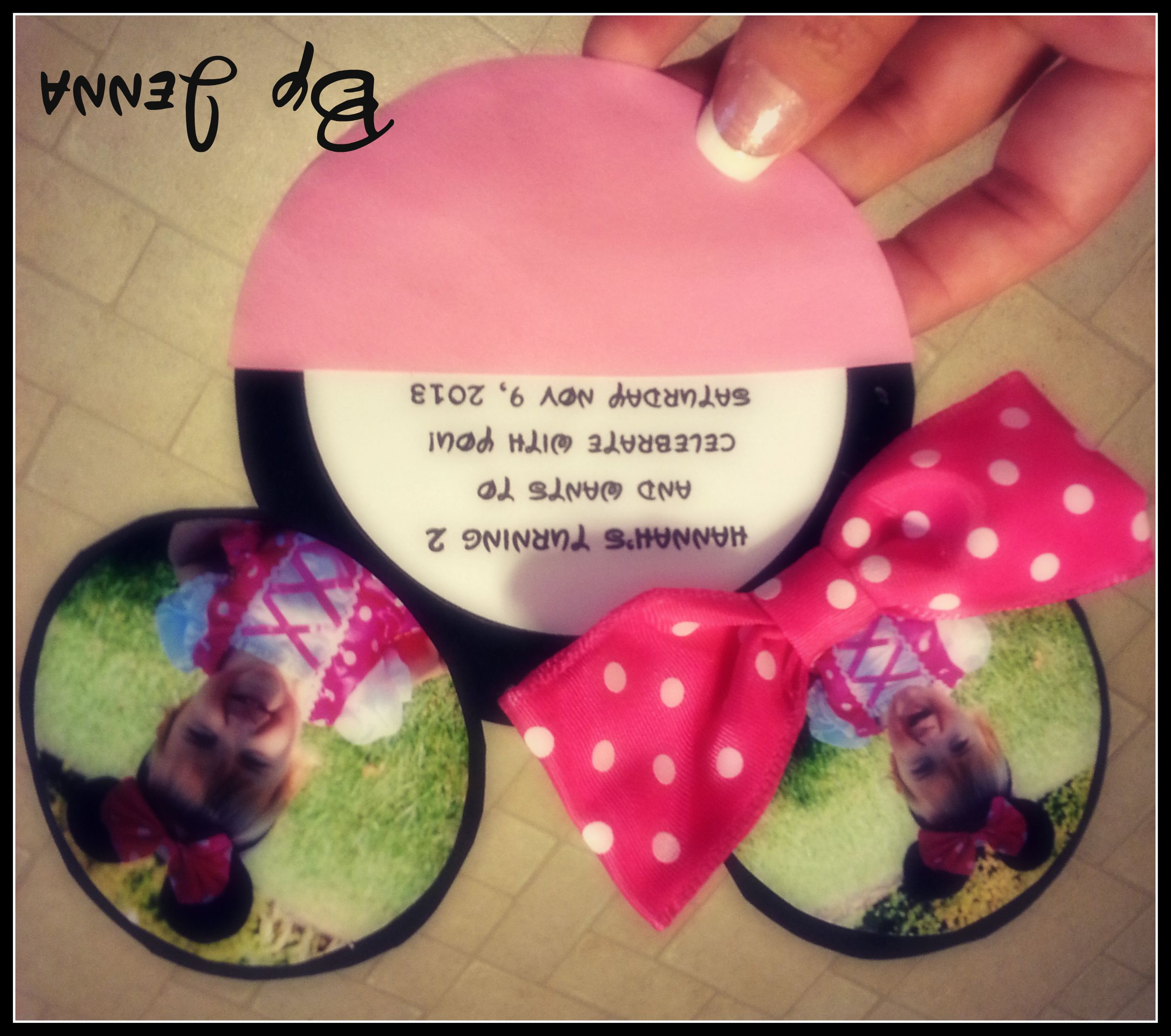 Minnie Mouse Invitation With Real Bow Party Craft Feature