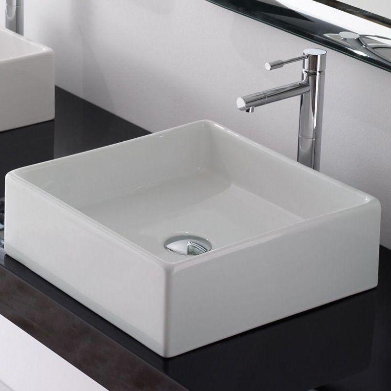 "Photo of Nameeks Scarabeo 8031/40-No Hole White / No Hole Scarabeo 15-1 / 4 ""Ceramic Vessel Bathroom Sink"
