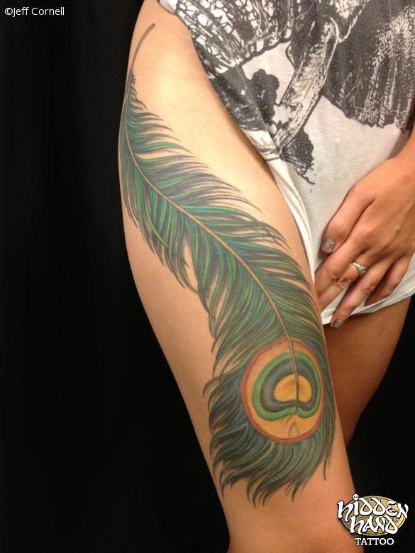 Large Colorful Peacock Feather On A Thigh Peacock Feather Tattoo