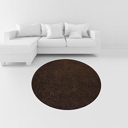 Soft Shag Round Area Rug 5 Ft Plain Solid Color Brown Shag