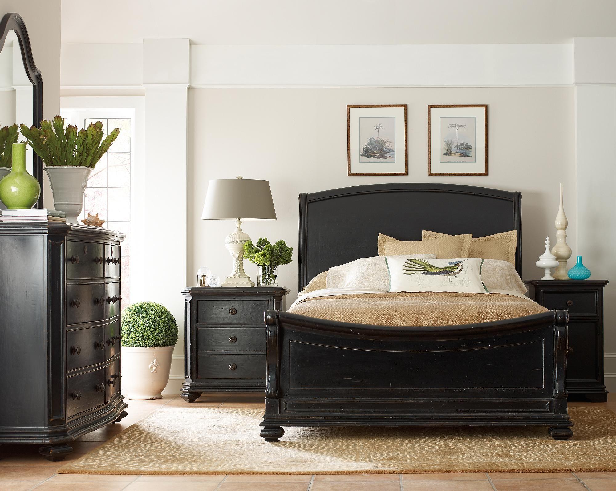 Stanley Furniture Continental Sleigh Bedroom Set In Ebony