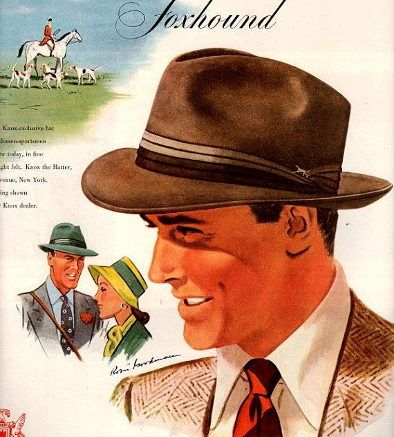 vintage foxhound men fashion hats 1937 by FrenchFrouFrou on Etsy, $14.95