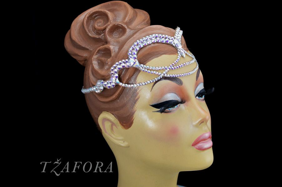 Headband for ballroom dance. Ballroom accessories and ballroom jewelry made with Swarovski, available at www.tzafora.com © 2014 Tzafora