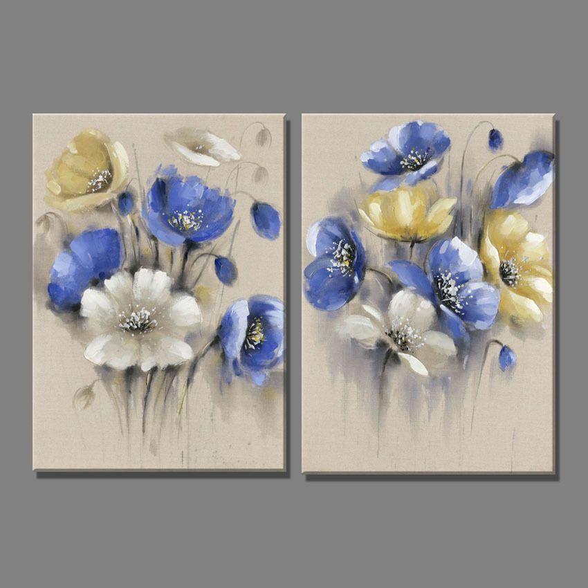 pas cher 2 pe a lin bleu jaune fleurs fleur blanche peinture l 39 huile toile art peintures pour. Black Bedroom Furniture Sets. Home Design Ideas