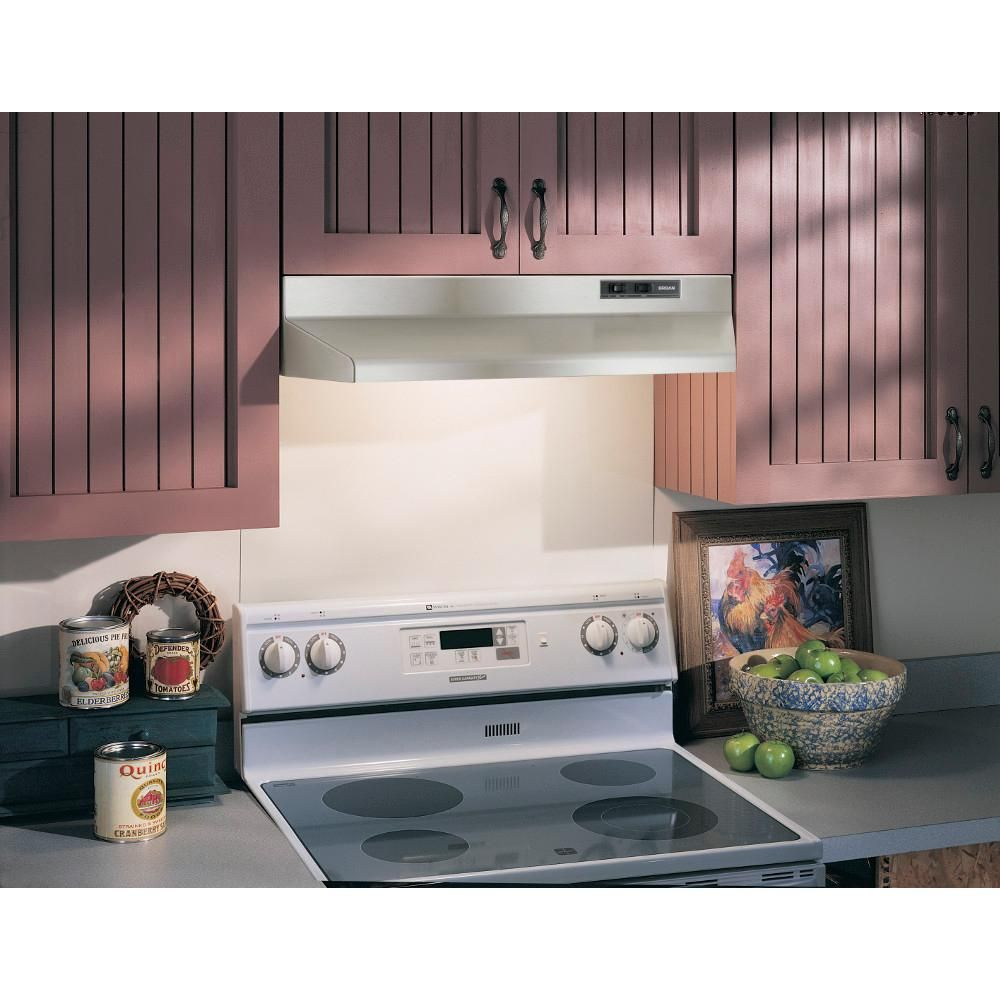Broan 42000 Series 36 In Under Cabinet Range Hood With Light In Stainless Steel 423604 Range Hood Insert Kitchen Under Cabinet Lighting Kitchen Hoods