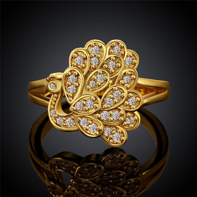 Hot Rose Gold Color Animal Jewelry Peacock CZ Stone Rings for