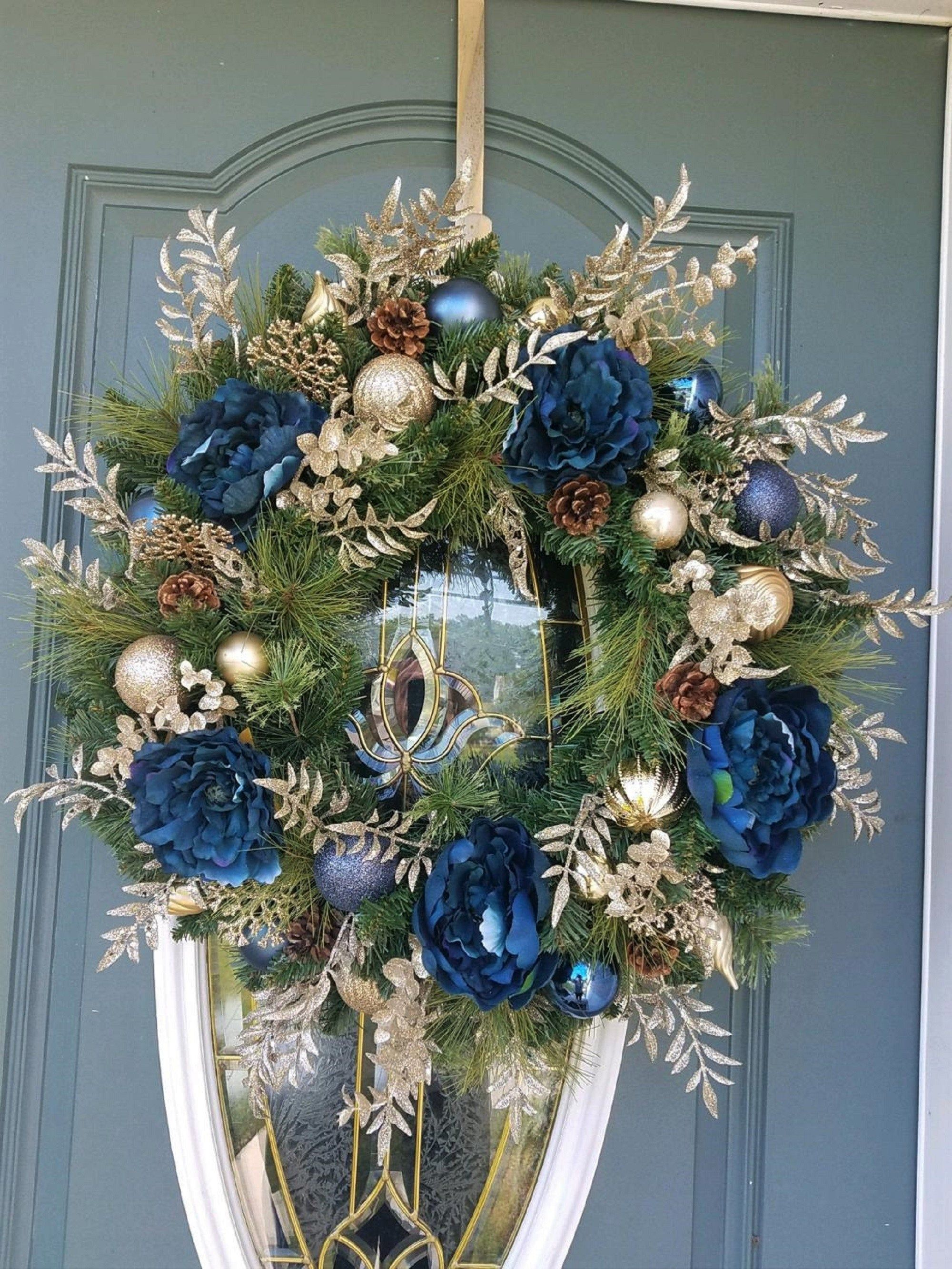 Christmas Wreath Navy Blue And Gold